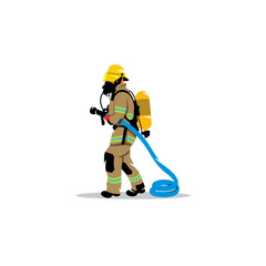 Firefighter with a hose sign. Vector Illustration.