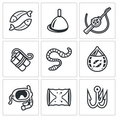 Fishing icons set. Vector Illustration.
