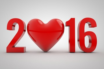 Happy new year 2016 Text with heart