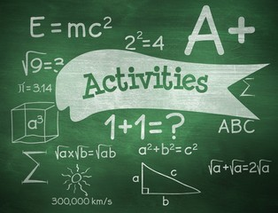 Activities against green chalkboard