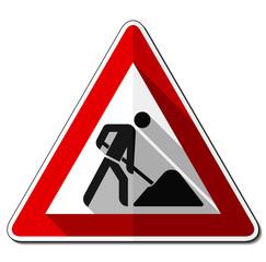 Gefahrzeichen flach – Baustelle