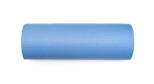 Blue yoga mat for exercise, isolated on white background.