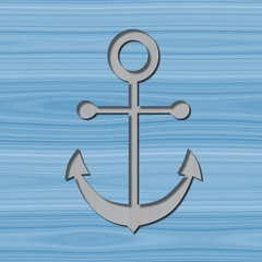 Anchor motif with drop shadow on wooden background