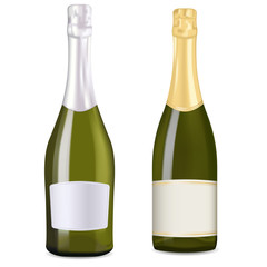 Bottles of sparkling wine, champagne, prosecco.