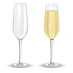 Glasses of champagne or sparkling wine.