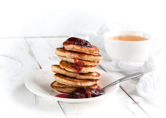 pancakes with plum jam