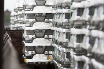 Close up of aluminum ingots on a cargo train
