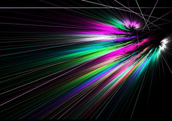 Fractal image: glowing colored rays