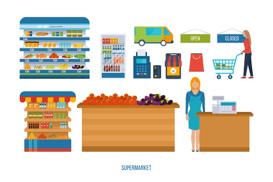 Supermarket store concept with food assortment, opening hours