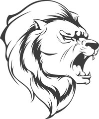 Lion Roaring Vector Silhouette