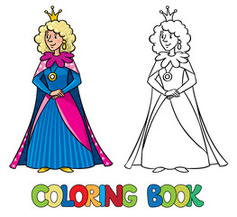 Beauty fairy queen or princess. Coloring book