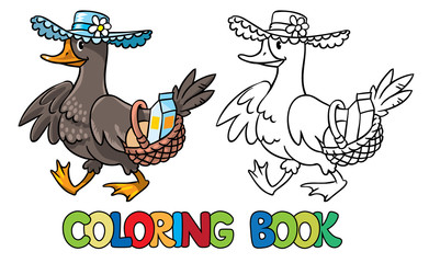Duck in hat with basket. Coloring book