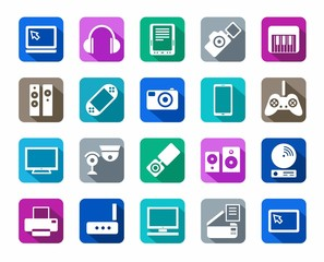 Icons, photo & video equipment, audio equipment, a colored background.