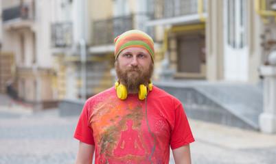 Hipster bearded freelancer man