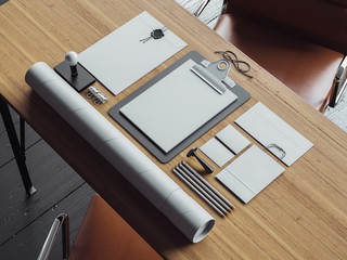 Set of classic white and blank elements on the workspace. 3d
