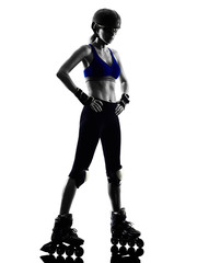 woman in roller skates  silhouette