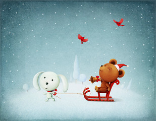 Greeting card Christmas Adventure Bear and Bunny
