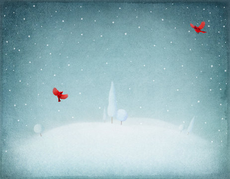 Pastel winter  background  and  snowy landscape