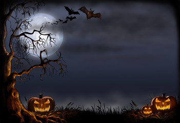 Creepy Halloween Scene - Digital Illustration Fotoväggar