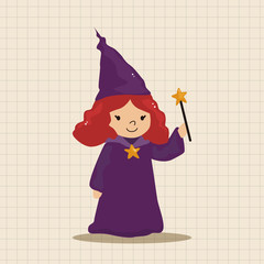 witch cartoon theme elements