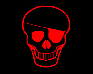 Red Skull With Eye Patch