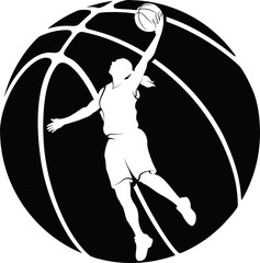 White silhouette in a basketball of a girl driving to the basket.
