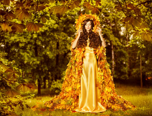 Autumn Fairy Woman, Nymph Yellow Leaves Dress, Goddess Earth