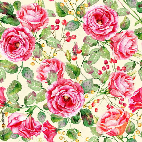 Seamless pattern of watercolor red roses illustration of flowers seamless pattern of watercolor red roses illustration of flowers vintage can be used mightylinksfo
