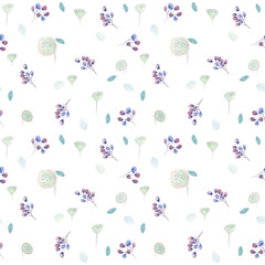 Seamless pattern with lilac flowers and some floral elements. Nice soft colors. Watercolor illustration. Watercolor illustration. Watercolor illustration.