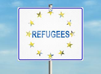 Refugees. Road sign on the sky background. Raster illustration.