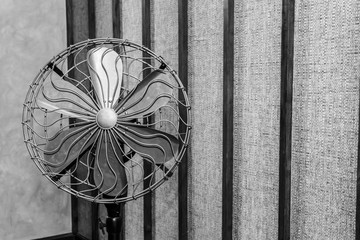 vintage fan black and white