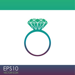 Diamond ring vector icon.