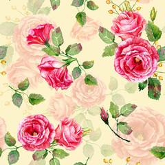 Seamless pattern of watercolor red roses. Illustration of flowers. Vintage. Can be used for gift wrapping paper, the background of Valentine's day, birthday, mother's day and so on.