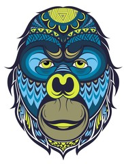 Vector illustration of a monkey, a symbol of New Year 2016.