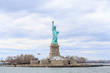 Landscape view of The Statue of Liberty