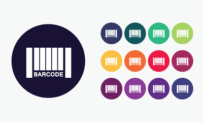 Barcode icon sign. Colorful vector set 9.