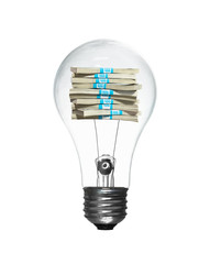 Lightbulb with a stack of money