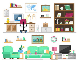Flat style set of home furniture: bookcase, sofa, armchair, pictures, tv, lamp, computer, table, flowers, clock, shelves. Interior design isolated vector illustration.