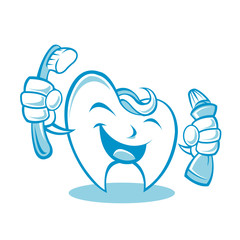 Smiling tooth with toothbrush and toothpaste
