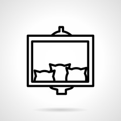 Three cats photo simple line vector icon
