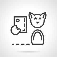 Abstract simple line cat with phone vector icon