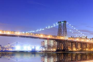 Williamsburg Bridge with New york city skyline.