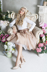 Young girl posing at studio