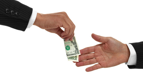 Close up of hand gving money to another