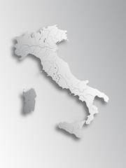 Map of Italy with paper cut effect. Rivers are shown..