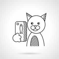 Pets selfie flat line vector icon