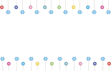 Christmas background with colored balls and snowflakes