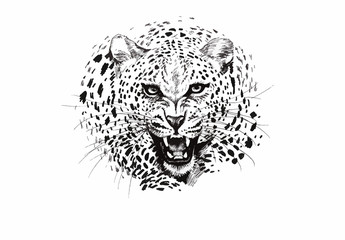 Angry leopard muzzle, black and white sketch