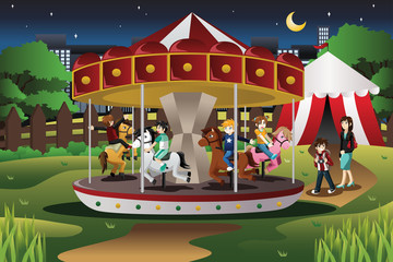 Kids on Merry Go Round