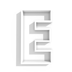 white isolated letter E in white background with shadow